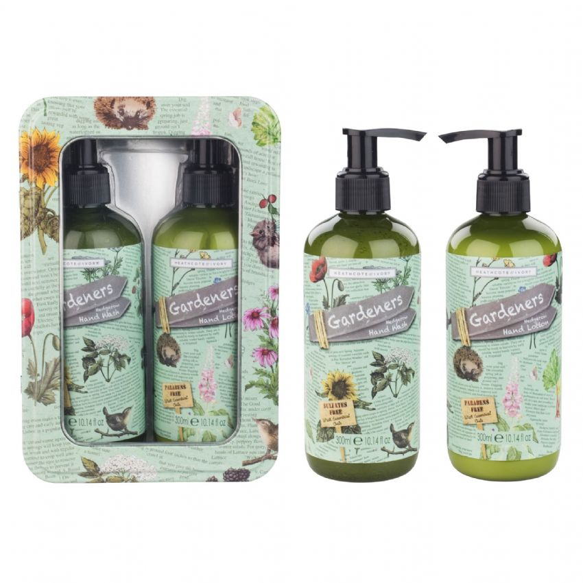 Hedgerow Handcare Hand Wash & Lotion Gift Tin - Gardeners Collection Heathcote & Ivory